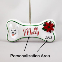 German Shepherd White Bone Ornament (Personalize-It-Yourself)