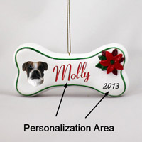 Boxer Brindle Uncropped Bone Ornament (Personalize-It-Yourself)