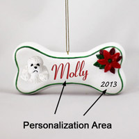 Poodle White w/Sport Cut Bone Ornament (Personalize-It-Yourself)