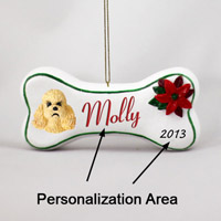Poodle Apricot w/Sport Cut Bone Ornament (Personalize-It-Yourself)