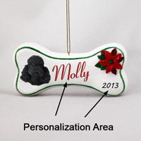 Poodle Black w/Sport Cut Bone Ornament (Personalize-It-Yourself)