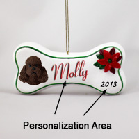 Poodle Chocolate w/Sport Cut Bone Ornament (Personalize-It-Yourself)