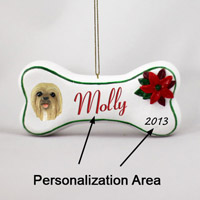 Lhasa Apso Blonde Bone Ornament (Personalize-It-Yourself)
