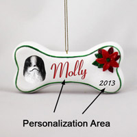 Japanese Chin Black & White Bone Ornament (Personalize-It-Yourself)