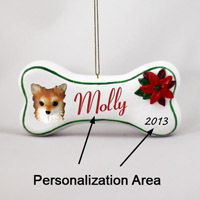 Chihuahua Longhaired Bone Ornament (Personalize-It-Yourself)