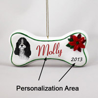 Cocker Spaniel Black & White Bone Ornament (Personalize-It-Yourself)