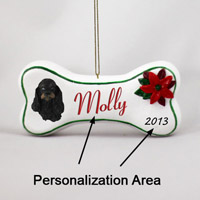 Cocker Spaniel Black & Tan Bone Ornament (Personalize-It-Yourself)