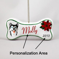 Husky Black & White w/Blue Eyes Bone Ornament (Personalize-It-Yourself)