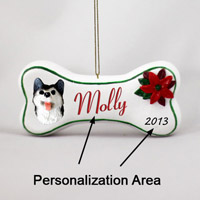 Husky Black & White w/Brown Eyes Bone Ornament (Personalize-It-Yourself)