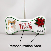 Husky Red & White w/Blue Eyes Bone Ornament (Personalize-It-Yourself)