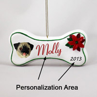 Pug Fawn Bone Ornament (Personalize-It-Yourself)