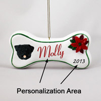 Pug Black Bone Ornament (Personalize-It-Yourself)