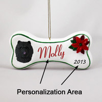 Chow Black Bone Ornament (Personalize-It-Yourself)