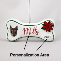 Doberman Pinscher Red w/Cropped Ears Bone Ornament (Personalize-It-Yourself)