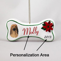 Afghan Tan & White Bone Ornament (Personalize-It-Yourself)