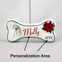 Old English Sheepdog Bone Ornament (Personalize-It-Yourself)