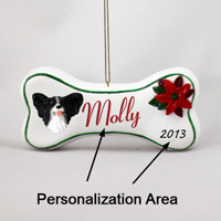 Papillon Black & White Bone Ornament (Personalize-It-Yourself)