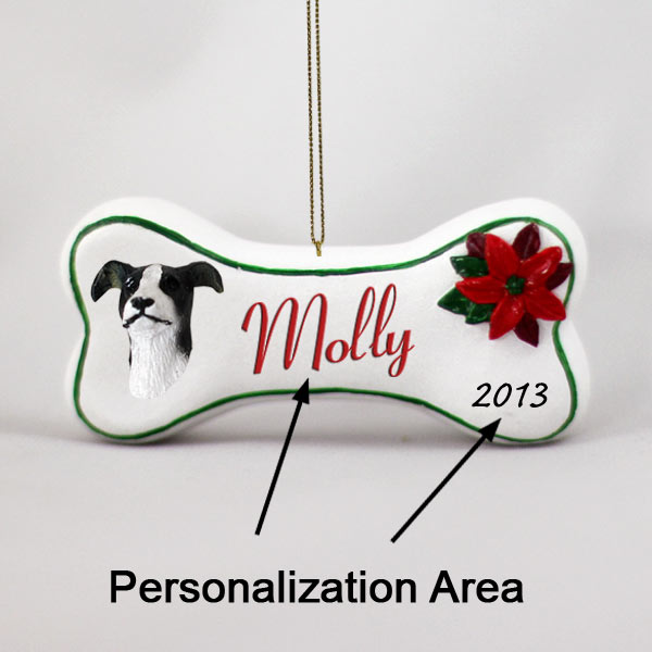 greyhound black white bone ornament personalize it yourself