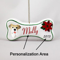 Wire Fox Terrer Red Bone Ornament (Personalize-It-Yourself)