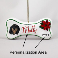 Dachshund Black Longhaired Bone Ornament (Personalize-It-Yourself)