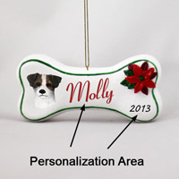 Jack Russell Terrier Brown & White w/Rough Coat Bone Ornament (Personalize-It-Yourself)