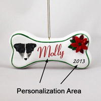 Jack Russell Terrier Black & White w/Rough Coat Bone Ornament (Personalize-It-Yourself)