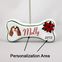 Brown & White Cavalier King Charles Bone Ornament (Personalize-It-Yourself)