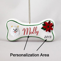 American Eskimo  Miniature Bone Ornament (Personalize-It-Yourself)