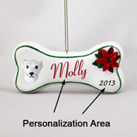 Whippet White Bone Ornament (Personalize-It-Yourself)
