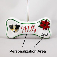 Australian Shepherd Brown w/Docked Tail Bone Ornament (Personalize-It-Yourself)