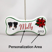 Australian Shepherd Tricolor w/Docked Tail Bone Ornament (Personalize-It-Yourself)
