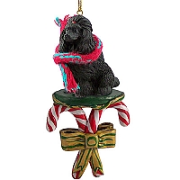 Poodle Black Candy Cane Ornament