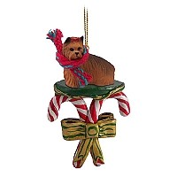 Yorkshire Terrier Candy Cane Ornament