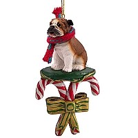 Bulldog Candy Cane Ornament