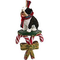 Bulldog Brindle Candy Cane Ornament