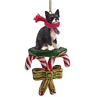 Chihuahua Black & White Candy Cane Ornament