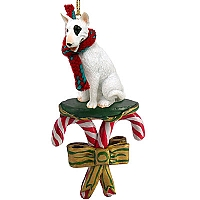Bull Terrier Candy Cane Ornament