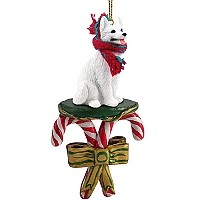 German Shepherd White Candy Cane Ornament
