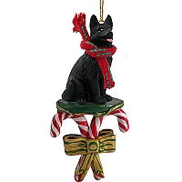 German Shepherd Black Candy Cane Ornament
