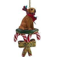 Golden Retriever Candy Cane Ornament
