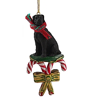 Great Dane Black w/Uncropped Ears Candy Cane Ornament