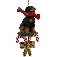 Doberman Pinscher Black w/Uncropped Ears Candy Cane Ornament