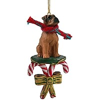 Boxer Tawny w/Uncropped Ears Candy Cane Ornament