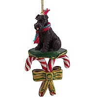 Schnauzer Black w/Uncropped Ears Candy Cane Ornament