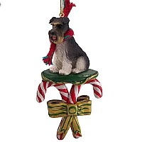 Schnauzer Gray w/Uncropped Ears Candy Cane Ornament