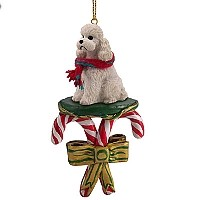 Poodle White w/Sport Cut Candy Cane Ornament