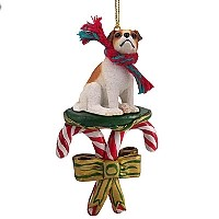 Jack Russell Terrier Brown & White w/Smooth Coat Candy Cane Ornament