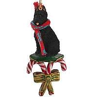 Bouvier des Flandres Candy Cane Ornament