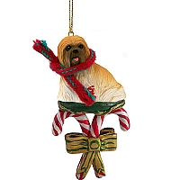 Lhasa Apso Brown Candy Cane Ornament