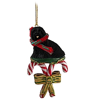 Lhasa Apso Black Candy Cane Ornament